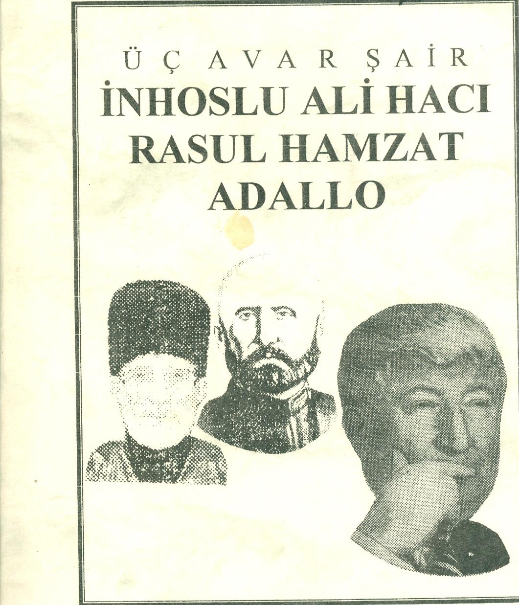 Üç Avar Şair /İnhoslu Ali Hacı - Resul Hamzat - Adallo